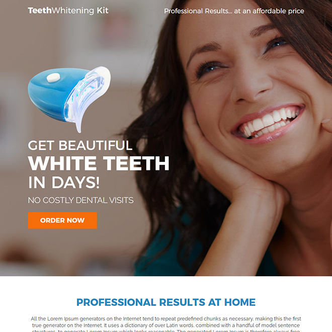 teeth whitening kit responsive landing page design Teeth Whitening example