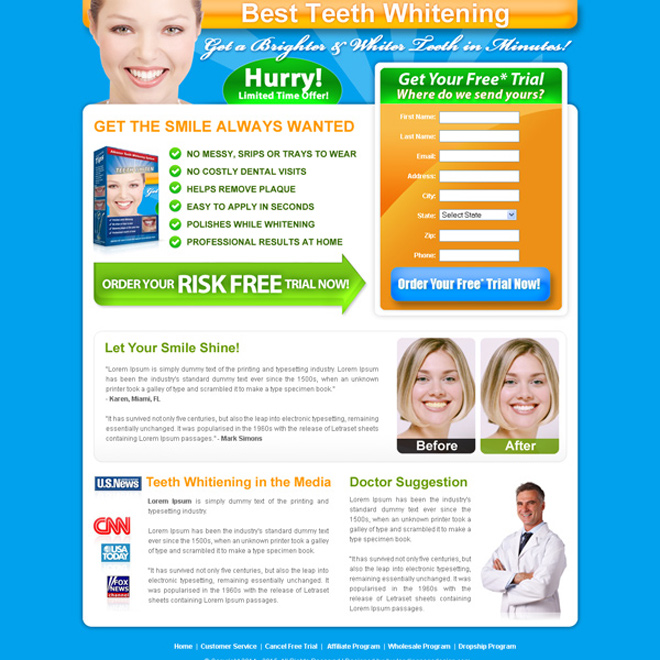 best teeth whitening product lead capture html landing page design template Teeth Whitening example