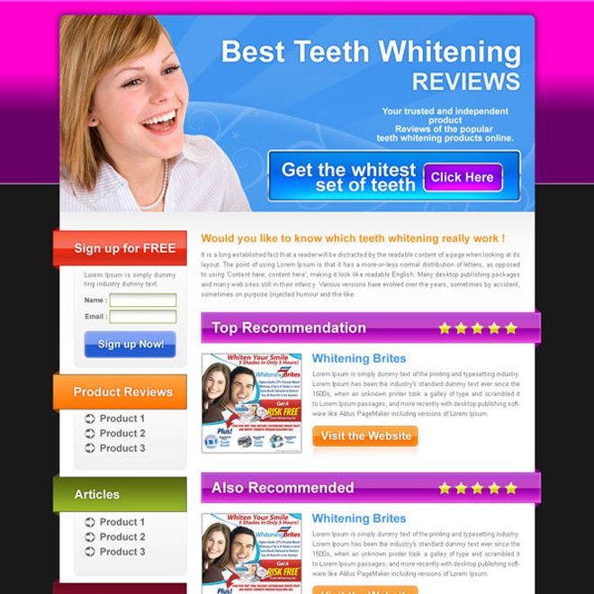 best teeth whitening review html landing page design Landing Page Design example
