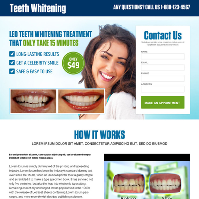 best teeth whitening treatment lead generating landing page design Teeth Whitening example
