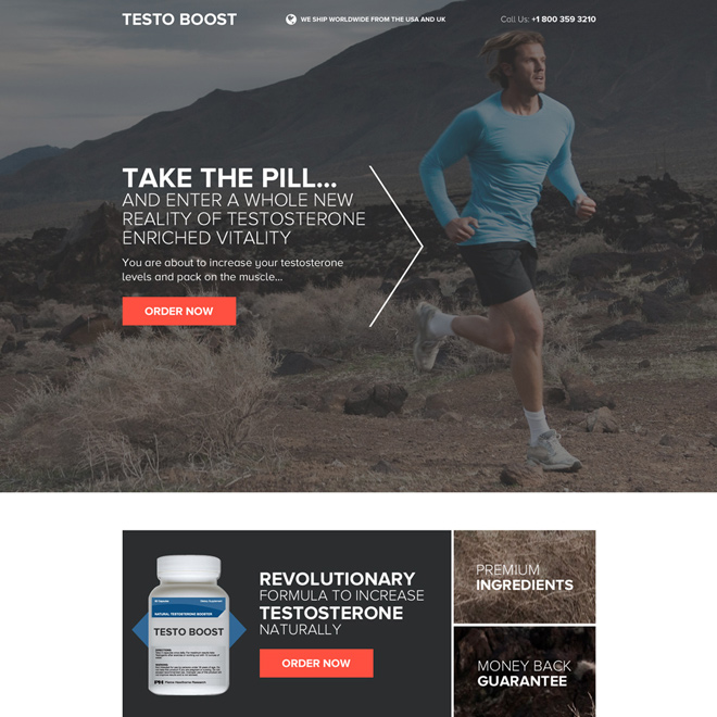 responsive testosterone booster pills selling landing page design Low Testosterone example