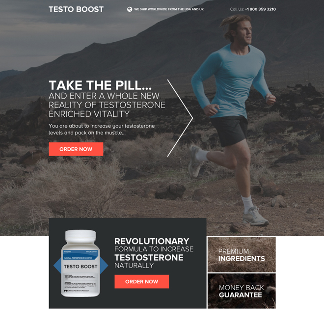 best low testosterone booster pills selling landing page design Low Testosterone example