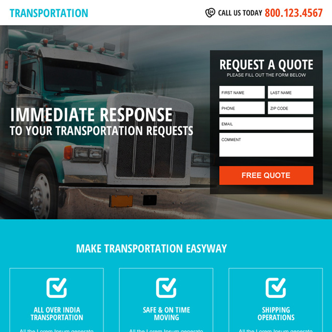 best transportation lead capturing landing page Transportation example