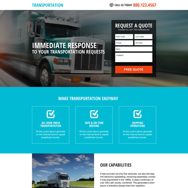 responsive free quote lead form transportation landing page Transportation example