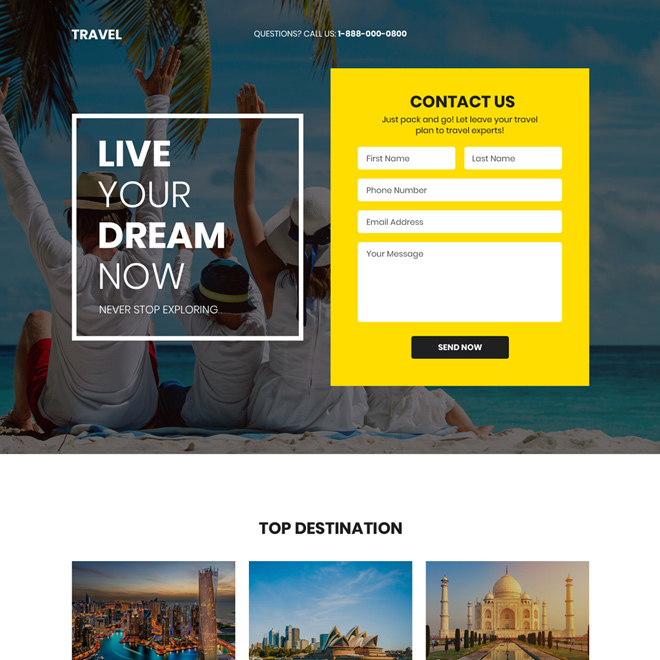 best tour and travel company lead generating landing page Travel example