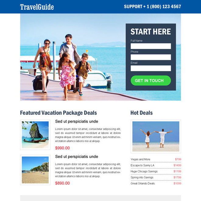 best travel guide clean and converting lead generating landing page design Travel example