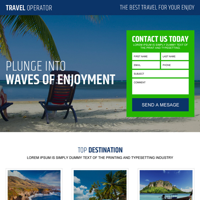 best travel lead capture landing page design Travel example