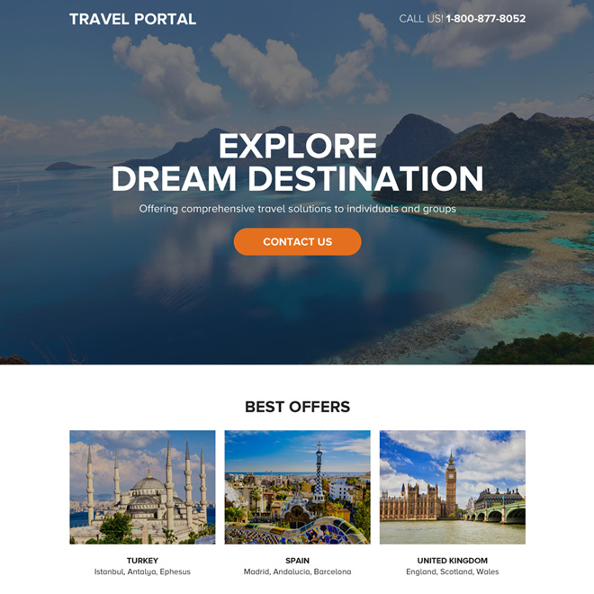 best travel portal responsive call to action landing page Travel example