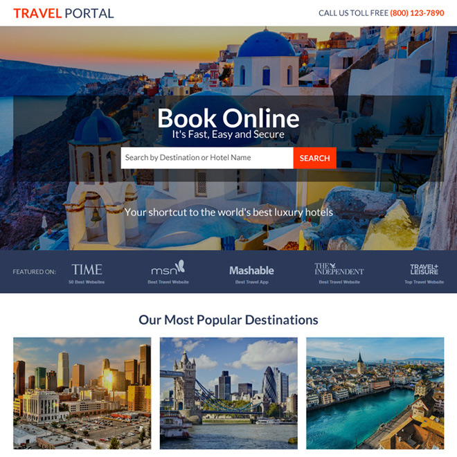 responsive travel portal lead capturing landing page Travel example