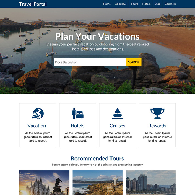 minimal travel portal responsive website design Travel example