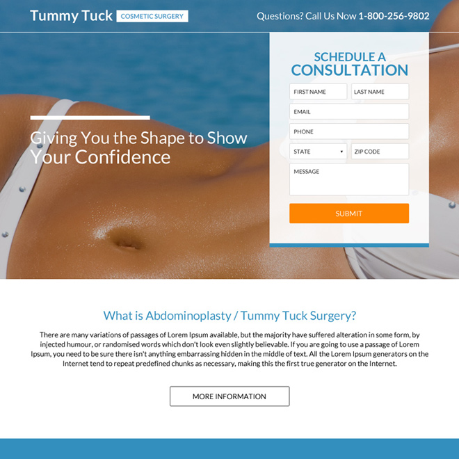 best tummy tucker cosmetic surgery landing page design Cosmetic Surgery example