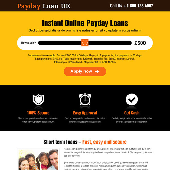 bright color best uk payday loan responsive landing page design Payday Loan example