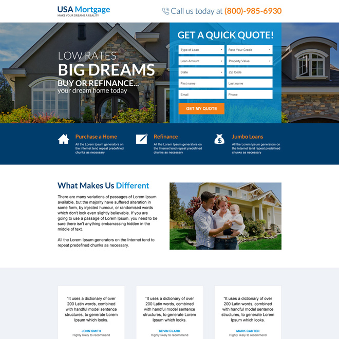 usa bank mortgage free quote lead capturing landing page Mortgage example