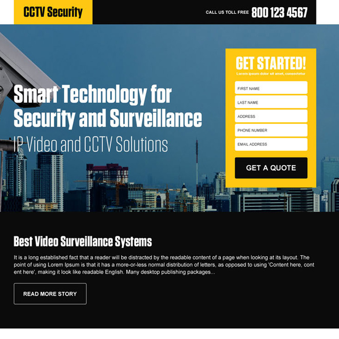 best video surveillance security landing page design Security example