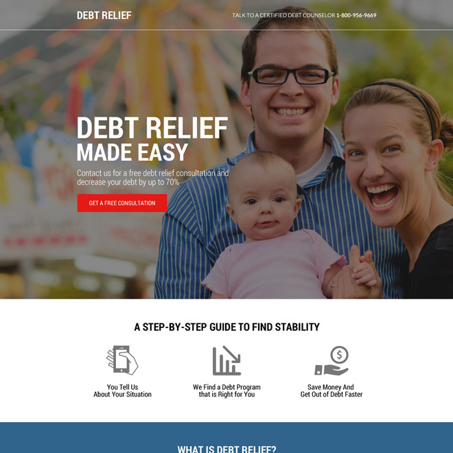 free debt relief consultation responsive landing page design Debt example