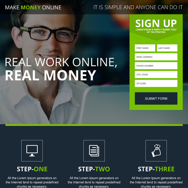 make money online appealing landing page design Make Money Online example