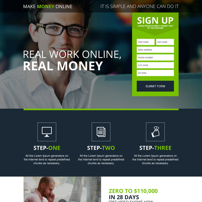 make money online appealing responsive landing page Make Money Online example