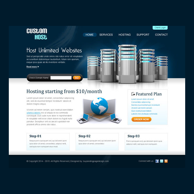 best web hosting website template design psd