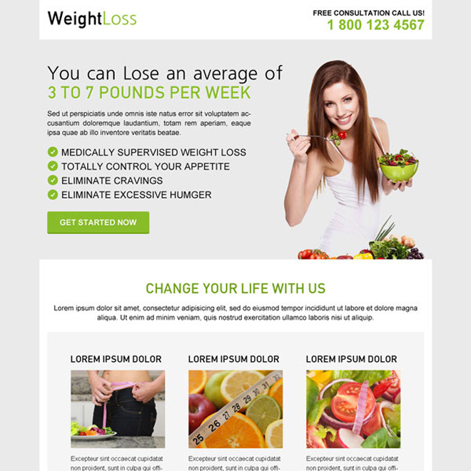 weight loss diet effective call to action clean and converting landing page design Weight Loss example