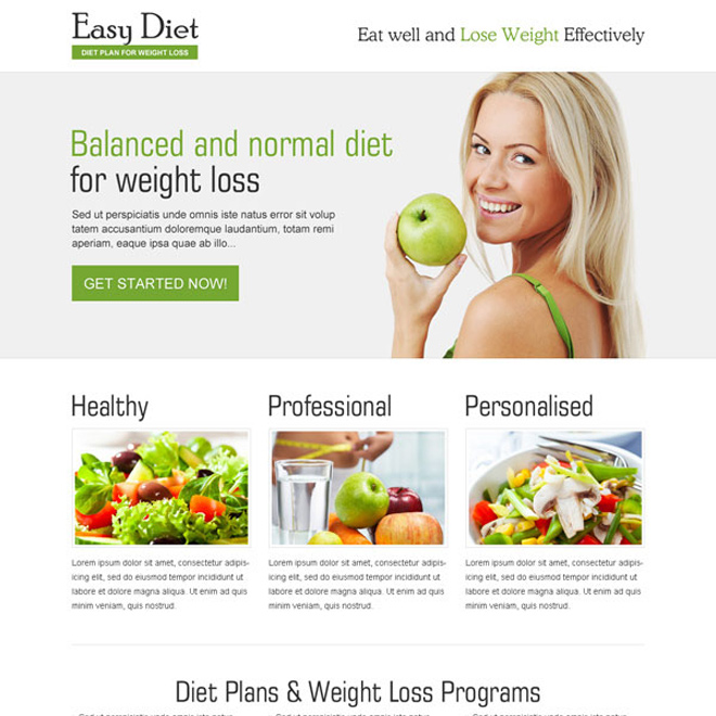 killer easy diet clean and converting call to action landing page design Weight Loss example