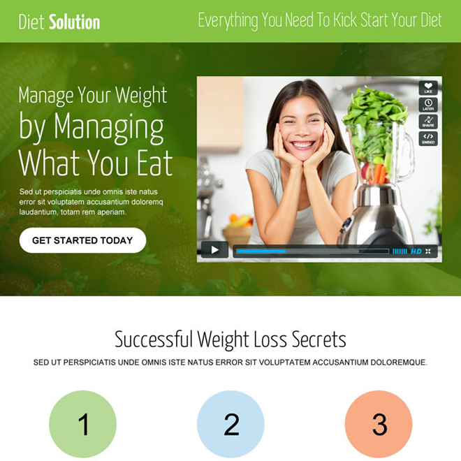 weight loss diet responsive video landing page design template Weight Loss example