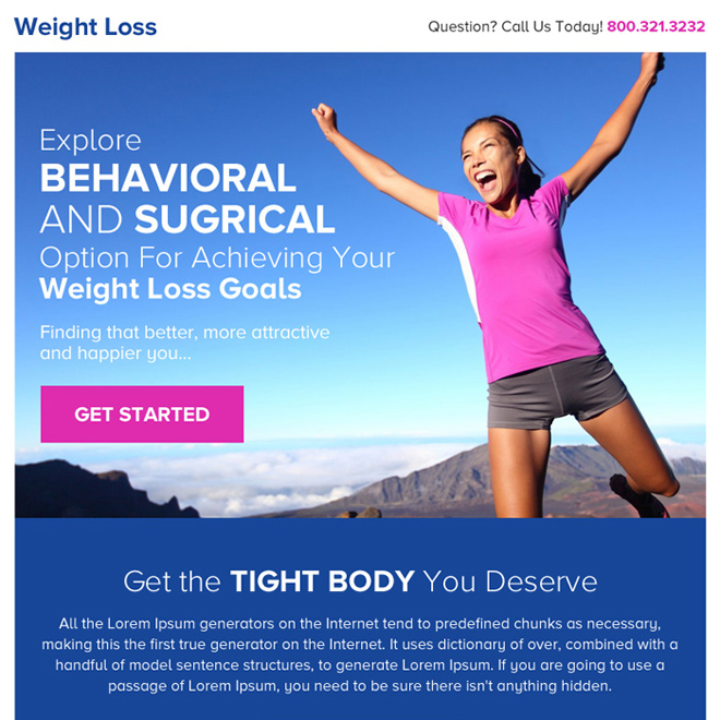 best weight loss goals click through ppv landing page design Weight Loss example