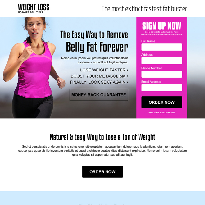 reduce belly fat weight loss effective responsive landing page design Weight Loss example