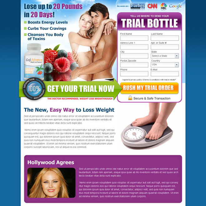weight loss product landing page design template Weight Loss example