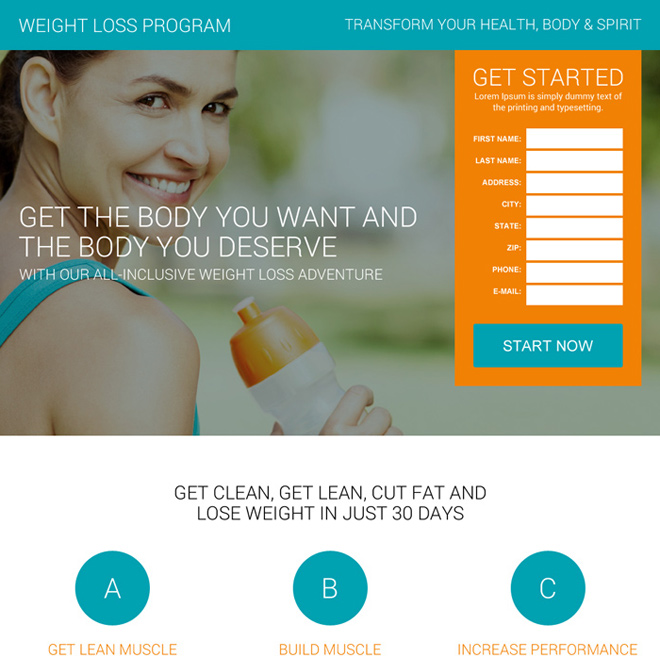 best weight loss program lead capturing landing page design Weight Loss example