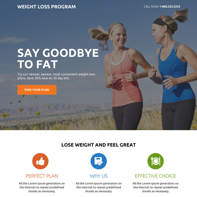 best weight loss mini responsive landing page design Weight Loss example