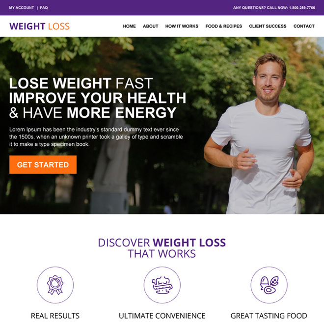 responsive weight loss website design template Weight loss example