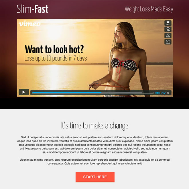 weight loss business service responsive landing page design Weight Loss example