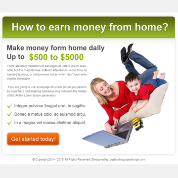 best ppv landing page design template for work from home business Work from Home example