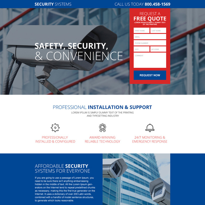 responsive best security system selling landing page design Security example