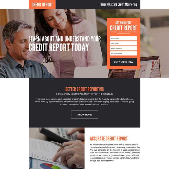 credit monitoring responsive landing page design Credit Report example