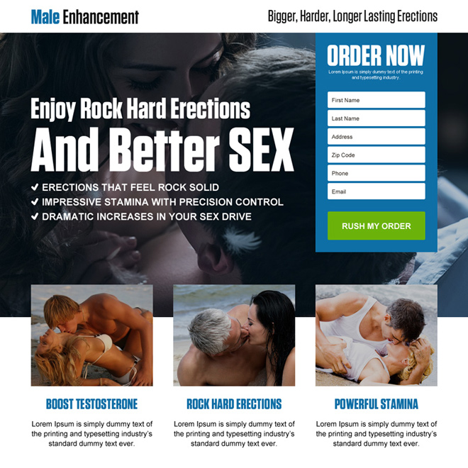 converting modern male enhancement landing page design Male Enhancement example