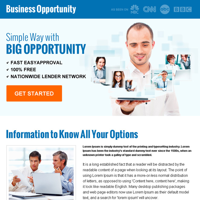 big business opportunity ppv landing page design Business Opportunity example