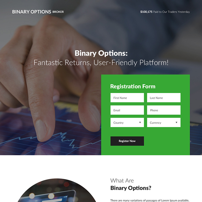 binary options broker responsive landing page design Forex Trading example