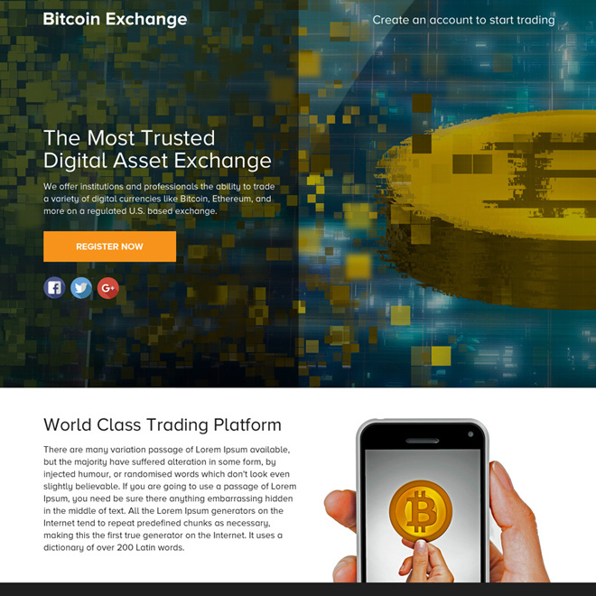 bitcoin exchange sign up capturing funnel page design Cryptocurrency example
