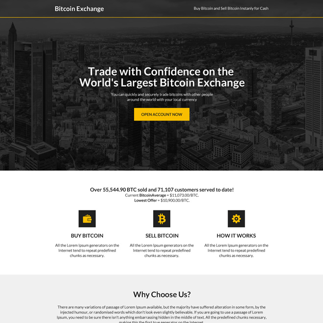 bitcoin trading sign up capturing professional landing page design Cryptocurrency example