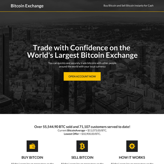 worlds largest bitcoin exchange responsive landing page Cryptocurrency example