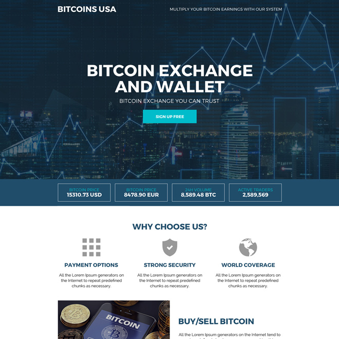 bitcoin and wallet responsive landing page design Cryptocurrency example