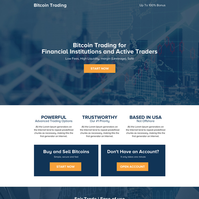 bitcoin trading for active traders professional landing page design Cryptocurrency example