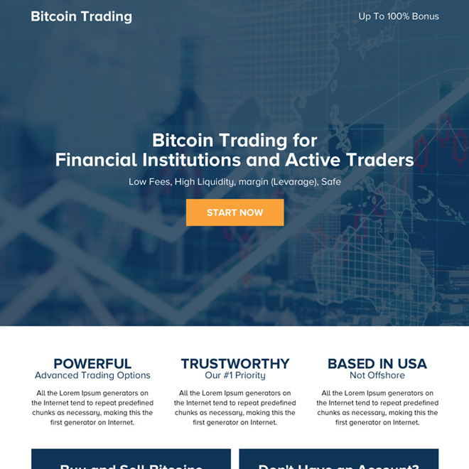 responsive bitcoin trading mini call to action landing page Cryptocurrency example