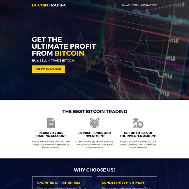 best bitcoin trading sign up capturing landing page design Cryptocurrency example