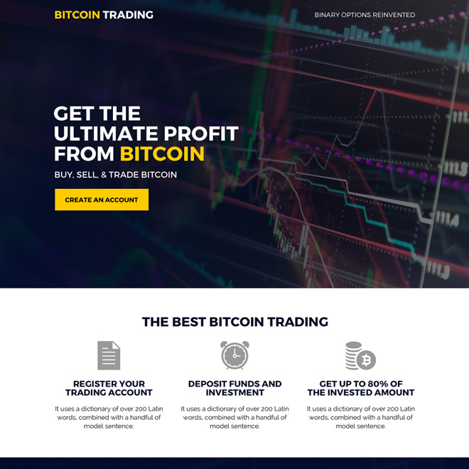 bitcoin trading mini responsive landing page design Cryptocurrency example