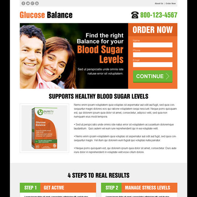 blood sugar control medicine lead capture converting and appealing html landing page design template Medical example