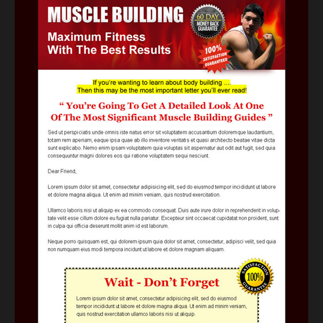 maximum fitness muscle building long lead capture sales page design Sales Page example