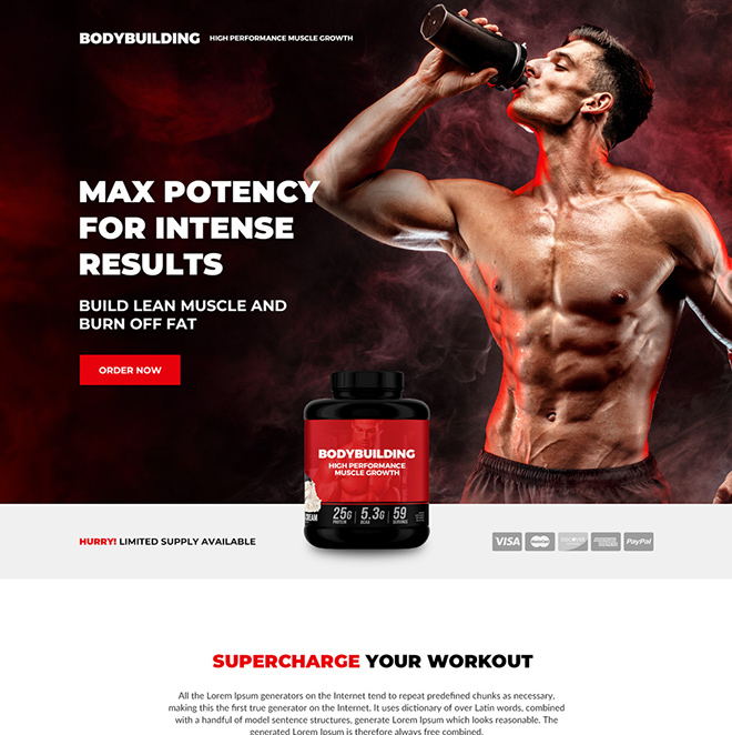 muscle growth supplement selling responsive landing page design Bodybuilding example