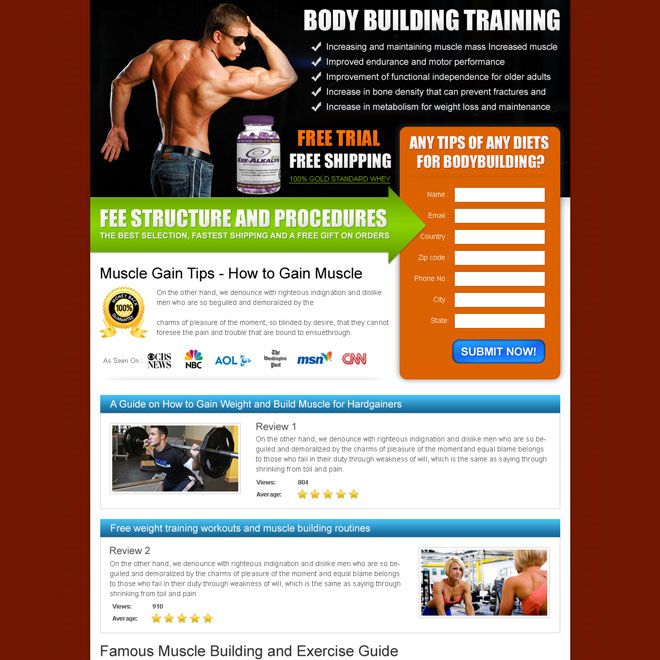 gain muscle with our body building expert training landing page design Bodybuilding example